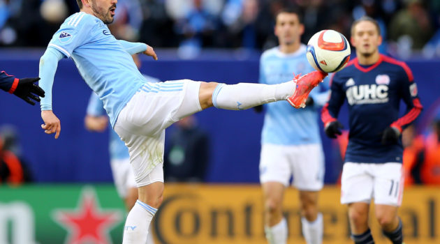 NEW YORK, NY - MARCH 15:  David Villa #7 of New York City FC passes the ball in the first half against the New England Revolution during the inaugural game of the New York City FC at Yankee Stadium on March 15, 2015 in the Bronx borough of New York City.  (Photo by Elsa/Getty Images)
