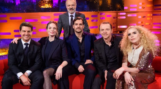 Host Graham Norton stands behind, left to right, Tom Cruise, Rebecca Ferguson, Henry Cavill, Simon Pegg and Paloma Faith, during the filming of the Graham Norton Show at The London Studios, south London, to be aired on BBC One on Friday evening.