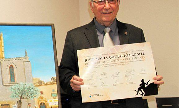 Josep M. Queraltó es nombrado primer hijo predilecto de Vallbona de les Monges