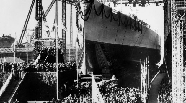 """War and Conflict, Pre-World War Two, Sea War, February 1939, The new German battleship """"Bismarck"""" of 35, 000 tons is launched at the """"Blehm and Voss shipyard,Hamburg  (Photo by Popperfoto/Getty Images)"""