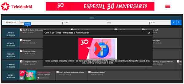 Telemadrid.es abre el 'Canal 30 años'