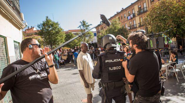 Rodaje de la serie 'Antidisturbios' de Movistar+.