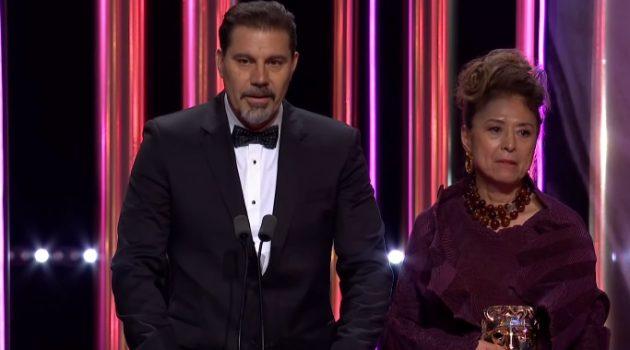 Sergio Pablos al subir al escenario por el BAFTA a 'Klaus'