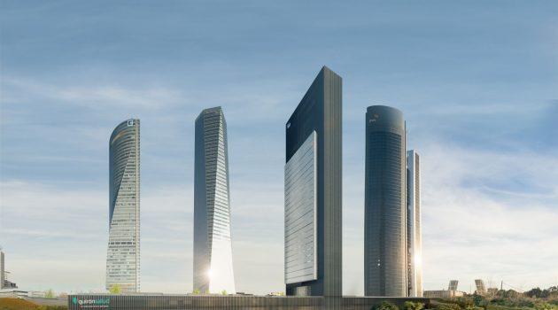 Recreación de la Torre Caleido con las otros rascacielos de la zona en Madrid.