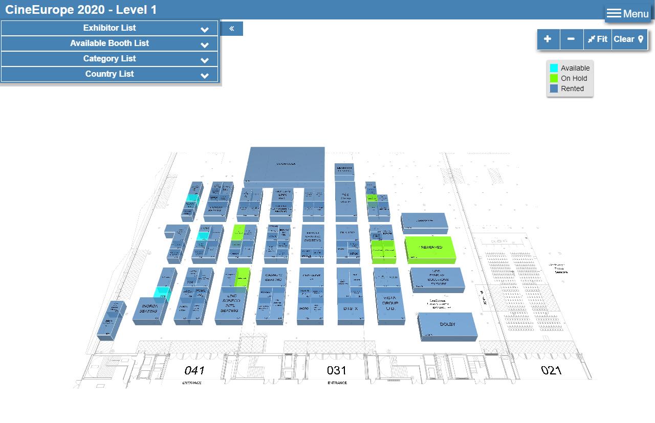 Plano virtual del tradeshow de CineEurope 2020 Online