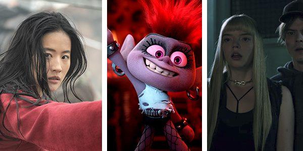 'Mulán' y 'The New Mutants' de Disney/Fox en los laterales, y 'Trolls: World Tour' de Universal en el centro.