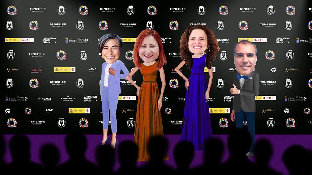 Photocall virtual de los Premios Quirino de este año. De izquierda a derecha, el equipo actual de Tenerife Film Commission: Concha Díaz, Marina Domínguez, Ana Vega y Ricardo Martínez.