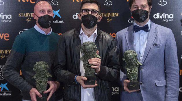Nicolas de Poulpiquet, Juan Ferro y Eduardo Esquide con el Goya a Mejor Sonido © Alberto Ortega - Cortesía de la Academia de Cine