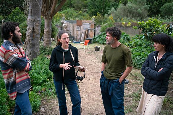La directora y los tres actores principales durante el rodaje (Foto: Verónica González Mayoral)
