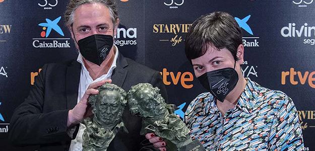 Mariano García Marty (Drama FX) y Ana Rubio (Twin Pines), Goya 2021 a Mejores Efectos © Alberto Ortega -Cortesía de la Academia de Cine