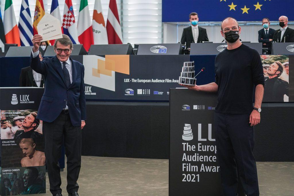 Momento en el Parlamento Europeo en Estrasburgo en el que se conoce a 'Collective' como ganador del LUX.