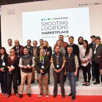Foto de familia con localizadores en Shooting Locations Marketplace, más algunos film commissioners.